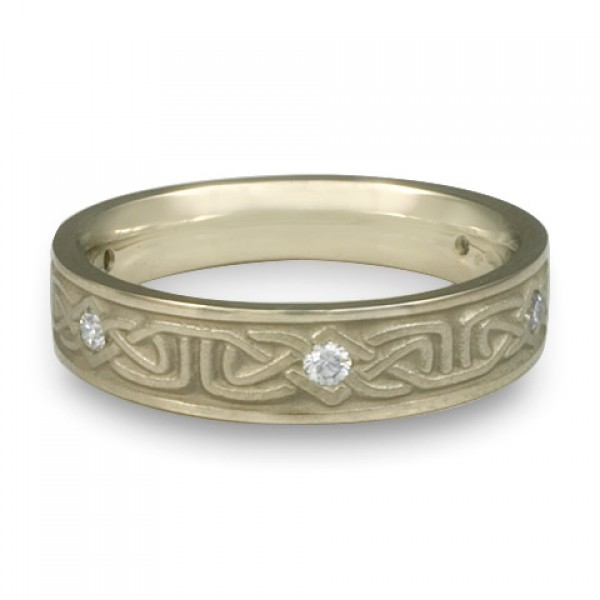 Extra Narrow Labyrinth with Diamonds Wedding Ring in 18K White Gold