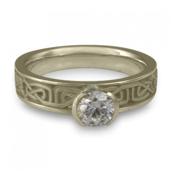 Extra Narrow Labyrinth Engagement Ring in 18K White Gold