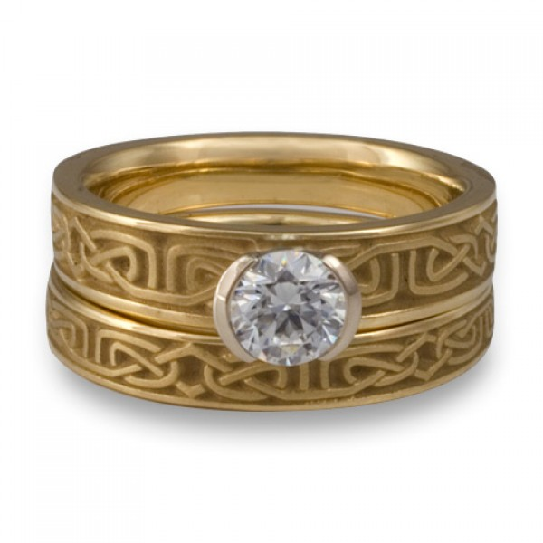 Extra Narrow Labyrinth Engagement Ring Set in 14K Yellow Gold