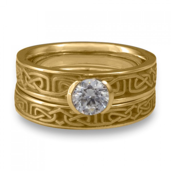 Extra Narrow Labyrinth Engagement Ring Set in 18K Yellow Gold