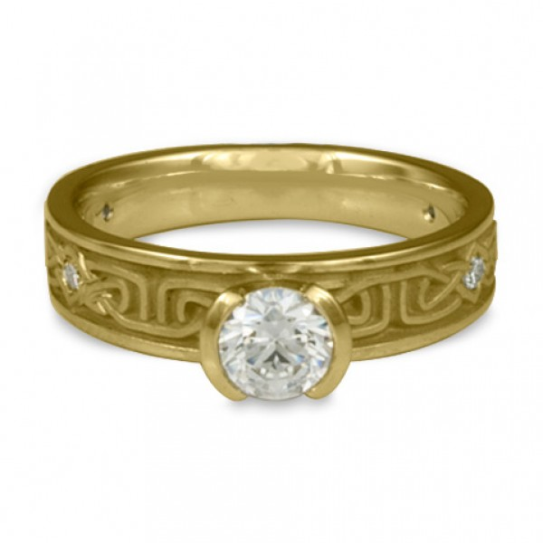 Extra Narrow Labyrinth Engagement Ring with Diamonds in 18K Yellow Gold