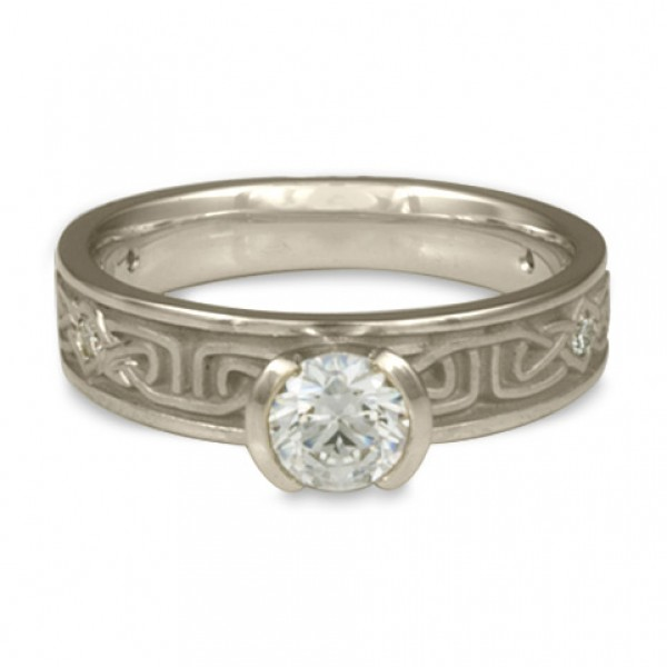 Extra Narrow Labyrinth Engagement Ring with Diamonds in Platinum