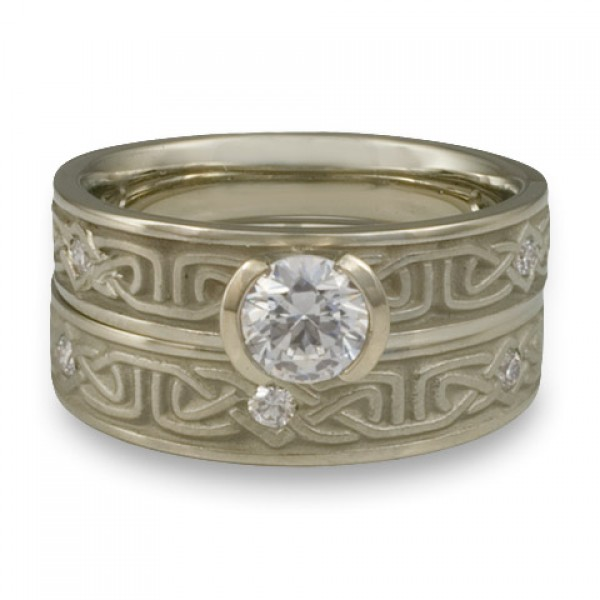 Extra Narrow Labyrinth Engagement Ring Set with Diamonds in 14K White Gold