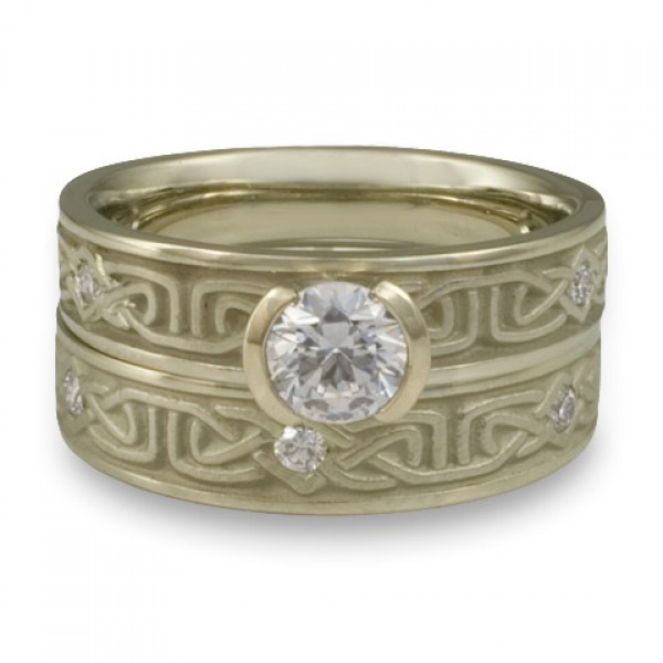 Extra Narrow Labyrinth Engagement Ring Set with Diamonds in 18K White Gold