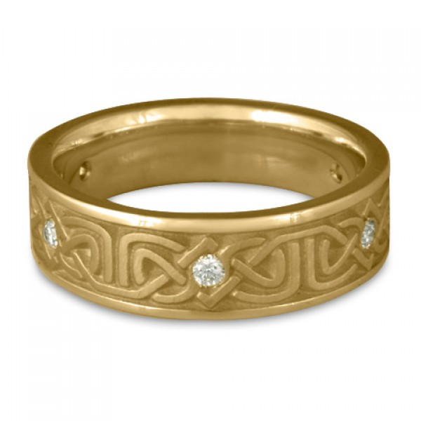 Narrow Labyrinth Wedding Ring with Diamonds in 14K Yellow Gold