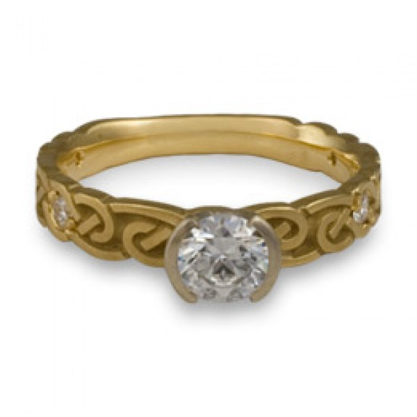Narrow Borderless Infinity With Diamonds Engagement Ring in 14K Yellow Gold