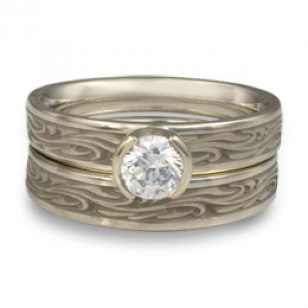 Extra Narrow Starry Night Engagement Ring Set in 14K White Gold