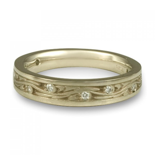 Extra Narrow Starry Night With Diamonds Wedding Band in 18K White Gold