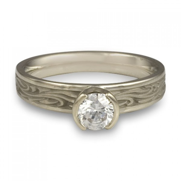 Extra Narrow Starry Night Engagement Ring in 14K White Gold