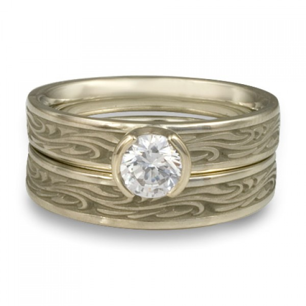 Extra Narrow Starry Night Engagement Ring Set in 18K White Gold