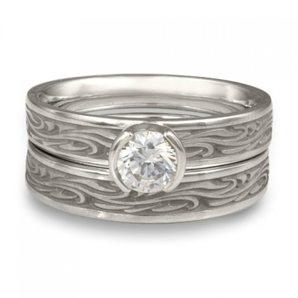 Extra Narrow Starry Night Engagement Ring Set in Platinum