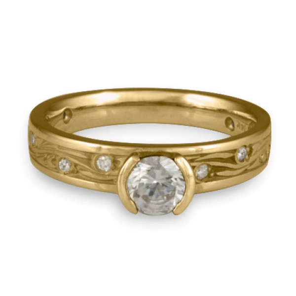 Extra Narrow Starry Night With Diamonds Engagement Ring in 14K Yellow Gold