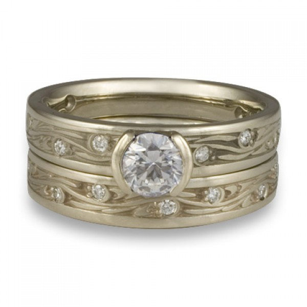 Extra Narrow Starry Night With Diamonds Engagement Ring Set in 14K White Gold