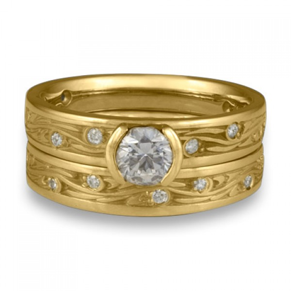 Extra Narrow Starry Night With Diamonds Engagement Ring Set in 18K Yellow Gold
