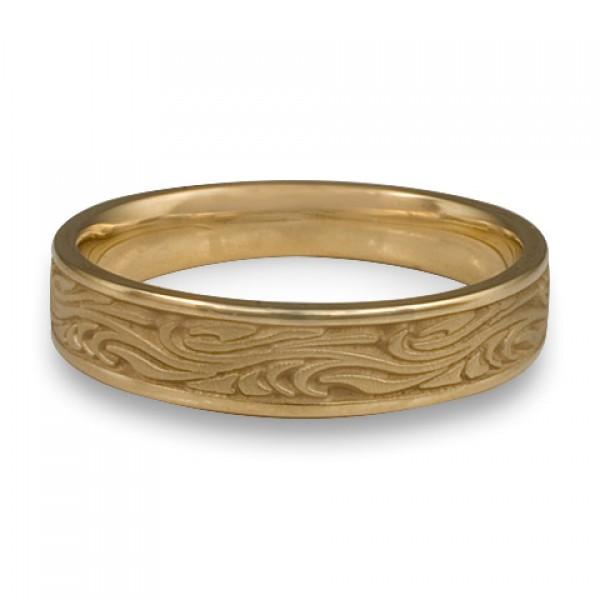 Narrow Starry Night Wedding Ring in 14K Yellow Gold