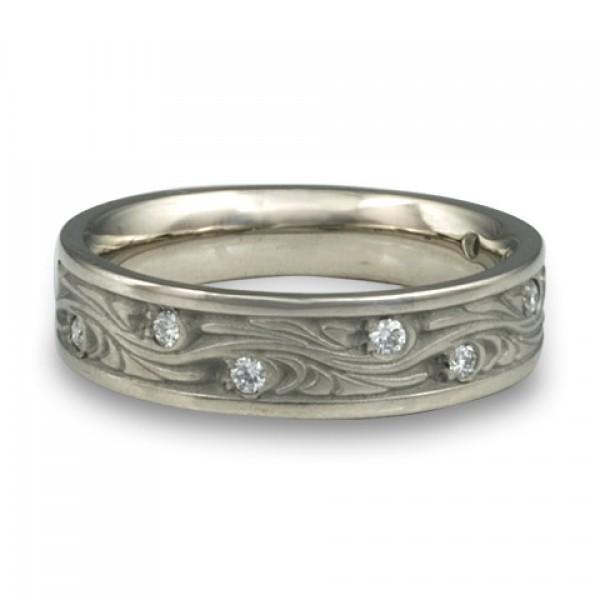 Narrow Starry Night With Diamonds Wedding Ring in Platinum