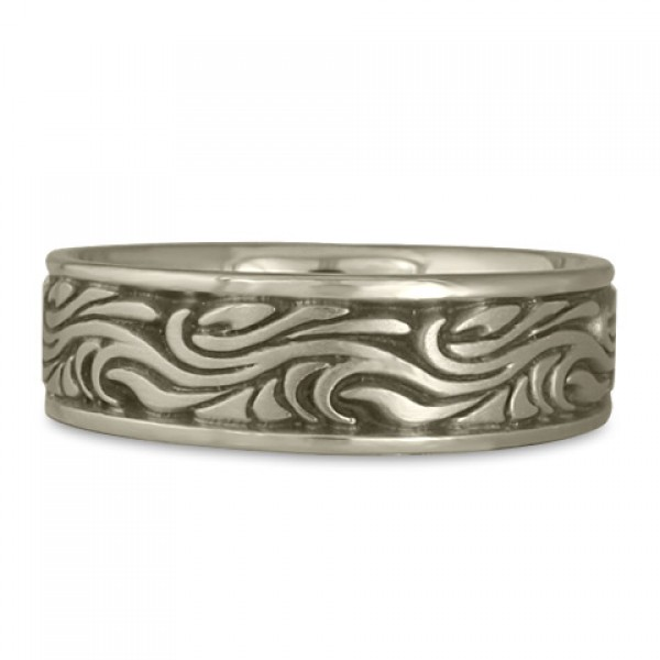 Wide Starry Night Wedding Ring in 14K White Gold