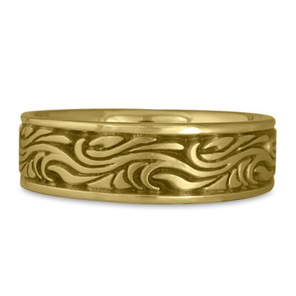 Wide Starry Night Wedding Ring in 18K Yellow Gold