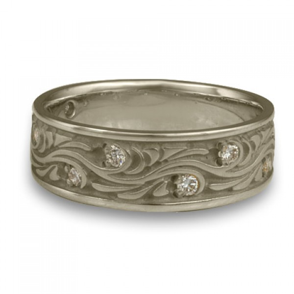 Wide Starry Night With Diamonds Wedding Ring in 14K White Gold