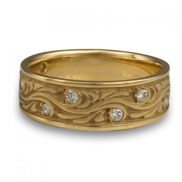 Wide Starry Night With Diamonds Wedding Ring in 14K Yellow Gold