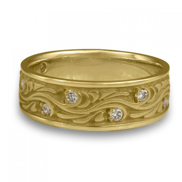 Wide Starry Night With Diamonds Wedding Ring in 18K Yellow Gold