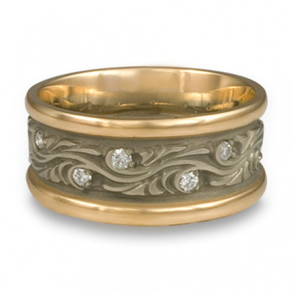 Wide Two Color Starry Night With Diamonds Wedding Ring in 14K Two Tone Gold