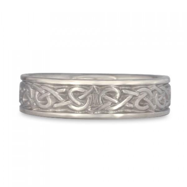 Narrow Celtic Hearts Wedding Ring in Platinum