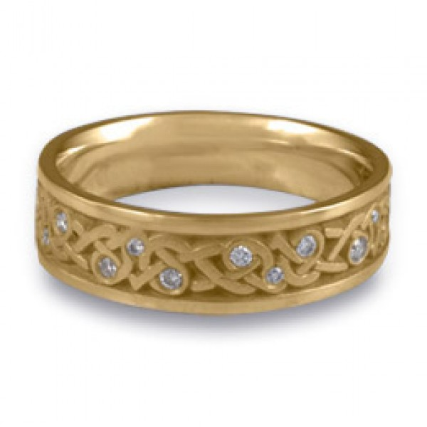Narrow Celtic Hearts with Diamonds Wedding Ring in 14K Yellow Gold