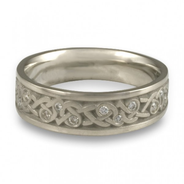 Narrow Celtic Hearts with Diamonds Wedding Ring in Platinum