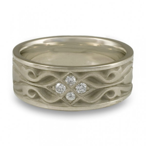 Wide Tulip Braid Wedding Ring with Diamonds in 14K White Gold
