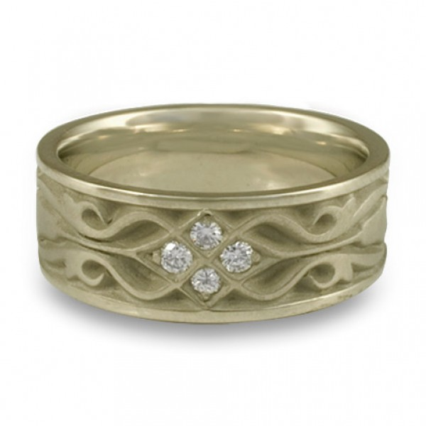 Wide Tulip Braid Wedding Ring with Diamonds in 18K White Gold