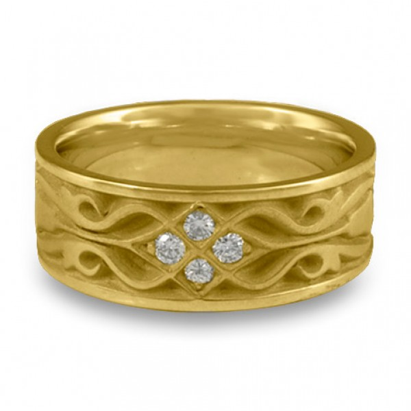 Wide Tulip Braid Wedding Ring with Diamonds in 18K Yellow Gold