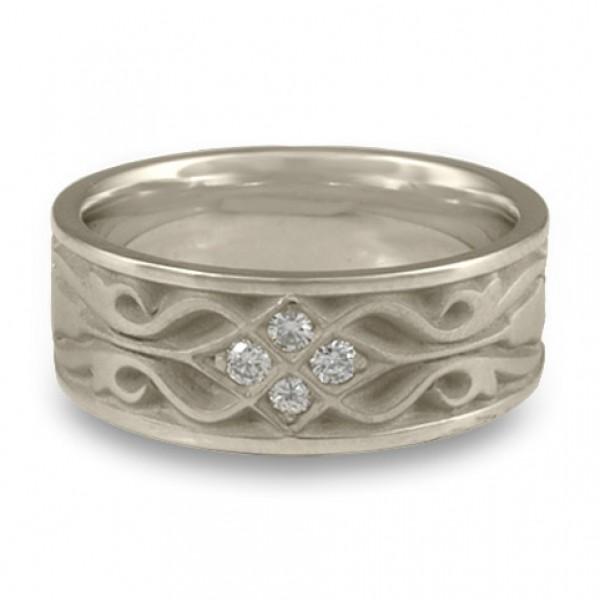 Wide Tulip Braid Wedding Ring with Diamonds in Platinum