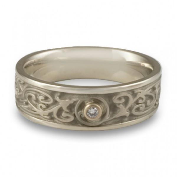 Narrow Garden Gate With Diamond Wedding Ring in 14K White Gold