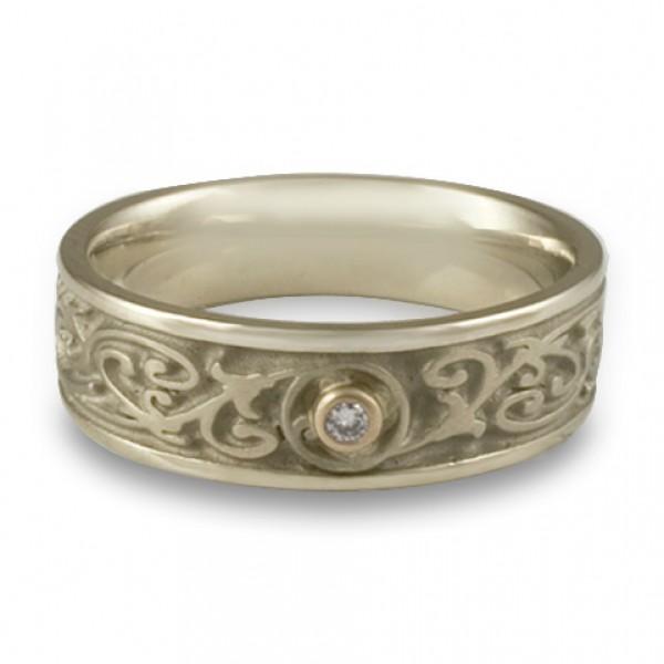 Narrow Garden Gate With Diamond Wedding Ring in 18K White Gold