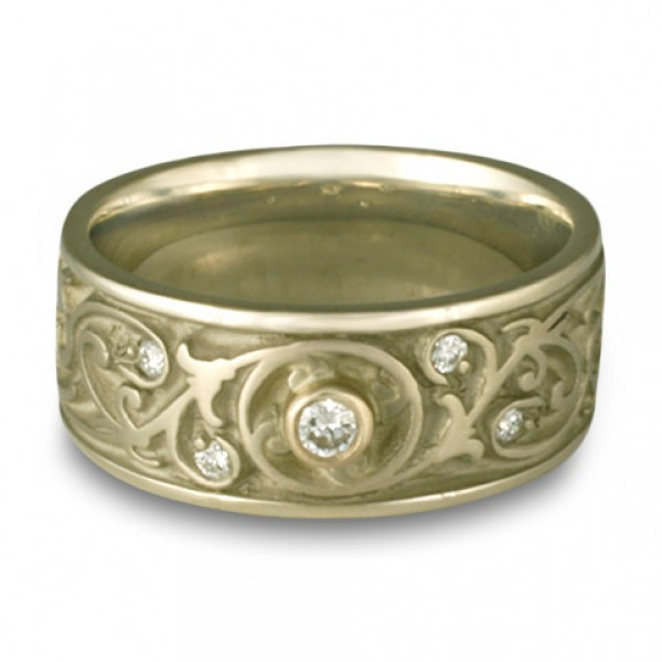 Wide Garden Gate Wedding Ring with Diamonds in 14K White Gold