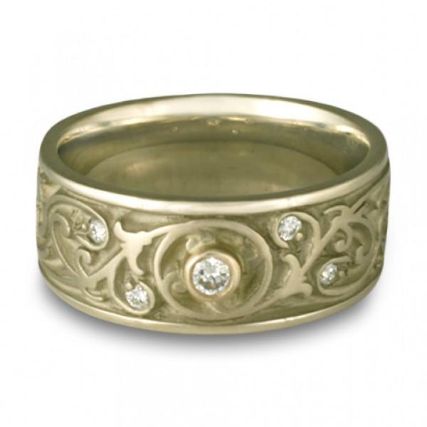 Wide Garden Gate Wedding Ring with Diamonds in 18K White Gold
