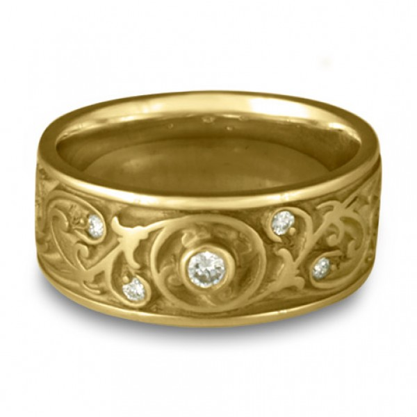 Wide Garden Gate Wedding Ring with Diamonds in 18K Yellow Gold