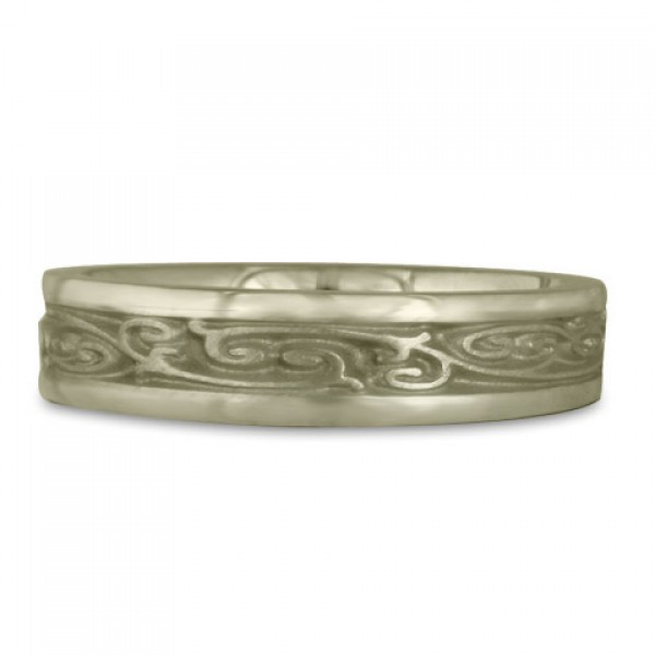 Extra Narrow Continuous Garden Gate Wedding Ring in 18K White Gold