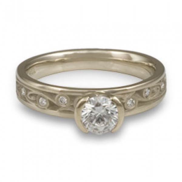 Extra Narrow Continuous Garden Gate With Diamonds Engagement Ring in 14K White Gold