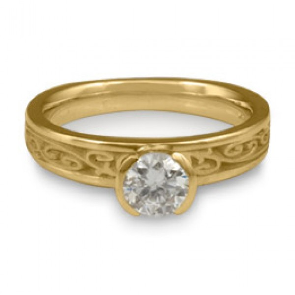 Extra Narrow Continuous Garden Gate Engagement Ring in 18K Yellow Gold