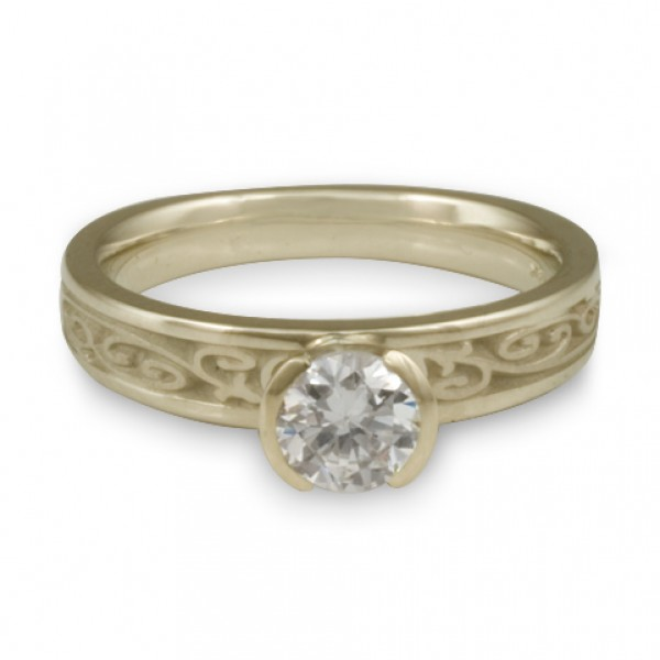 Extra Narrow Continuous Garden Gate Engagement Ring in 18K White Gold