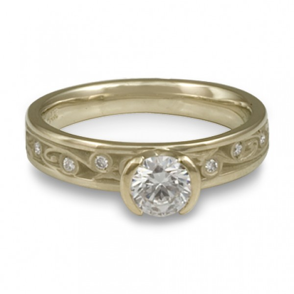 Extra Narrow Continuous Garden Gate With Diamonds Engagement Ring in 18K White Gold