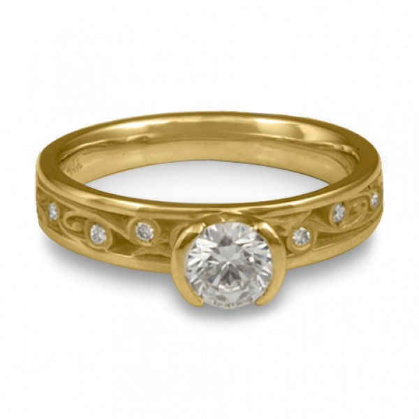 Extra Narrow Continuous Garden Gate With Diamonds Engagement Ring in 18K Yellow Gold
