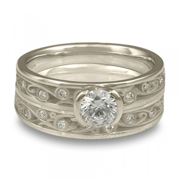 Extra Narrow Continuous Garden Gate With Diamonds Engagement Ring Set in Platinum