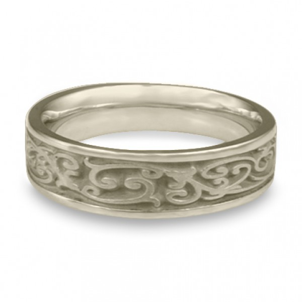 Narrow Continuous Garden Gate Wedding Ring in 14K White Gold