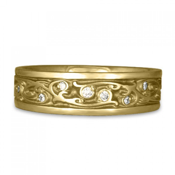Narrow Continuous Garden Gate Wedding Ring with Diamonds in 14K Yellow Gold