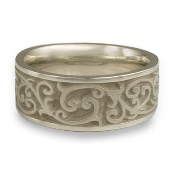 Wide Continuous Garden Gate Wedding Ring in 14K White Gold