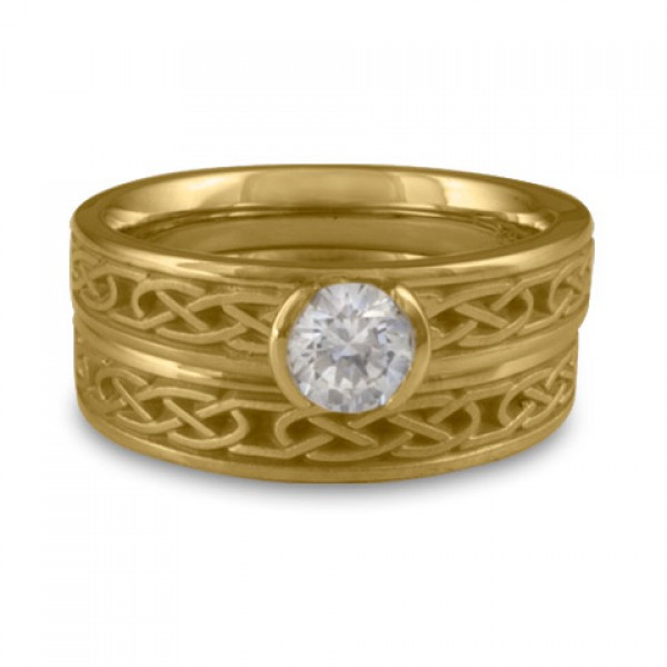 Extra Narrow Love Knot Engagement Ring Set in 14K Yellow Gold