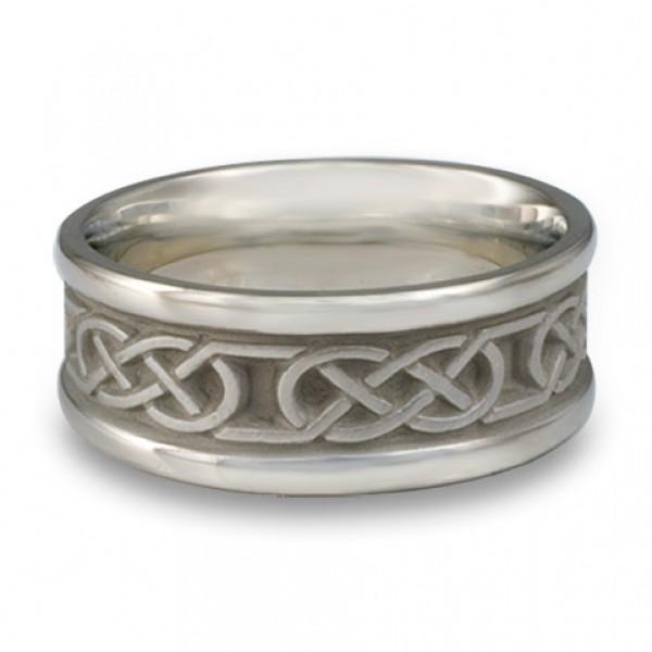 Narrow Self Bordered Love Knot Wedding Ring in Platinum